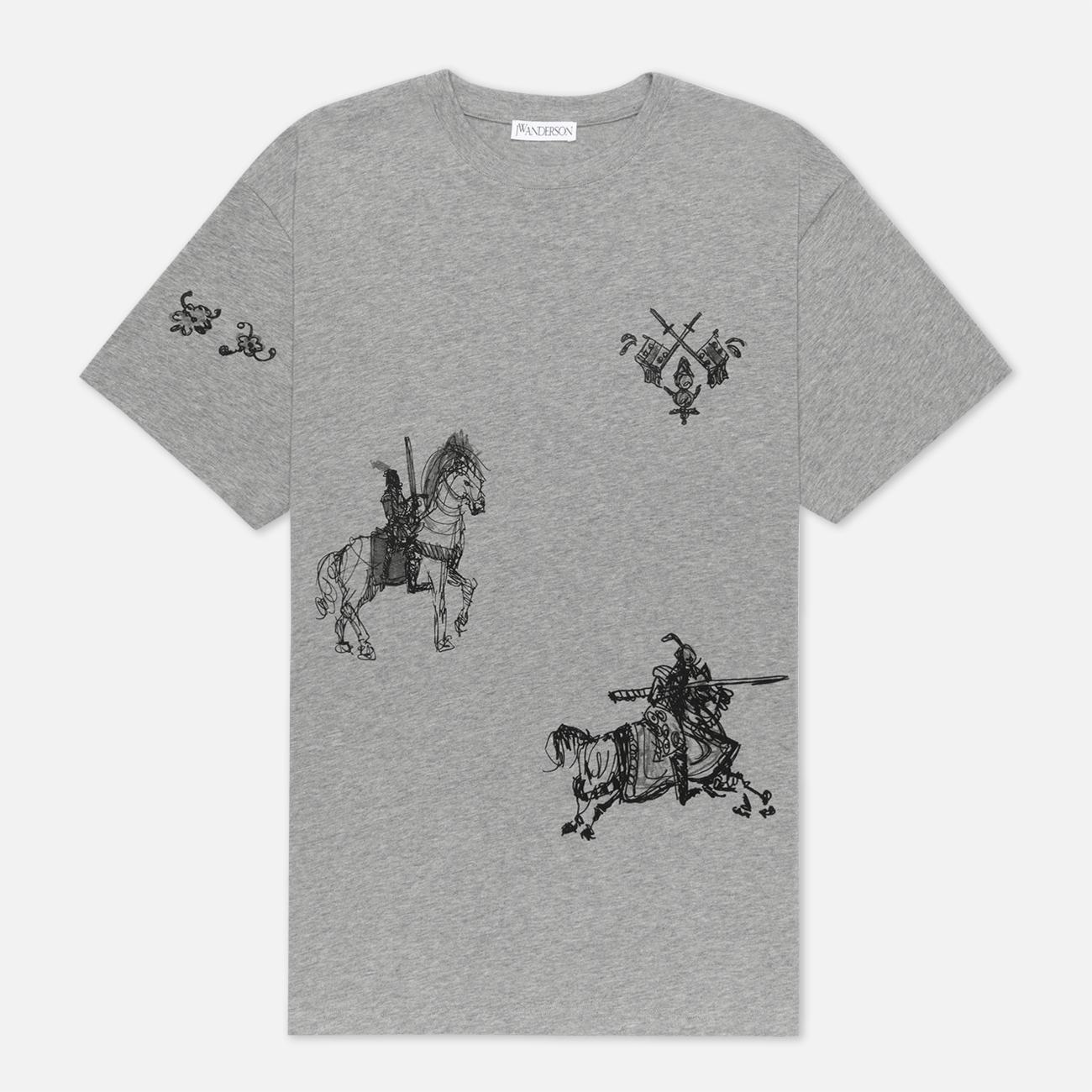 Мужская футболка JW Anderson Camelot Printed Frost Melange
