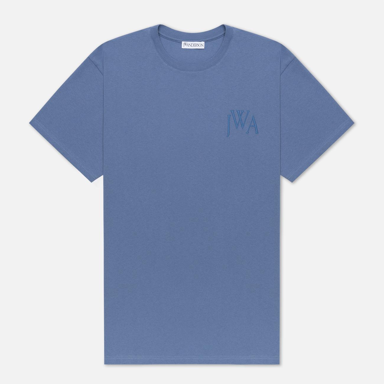 Мужская футболка JW Anderson JWA Logo Embroidery Denim Blue