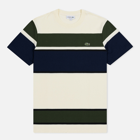 Мужская футболка Lacoste Colourblock Striped White/Black/Khaki Green/Navy Blue