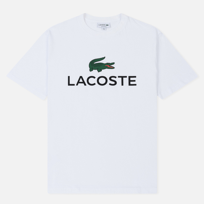 7f4551bf0129 Мужская футболка Lacoste Crew Neck Lacoste Lettering Cotton Jersey White ...