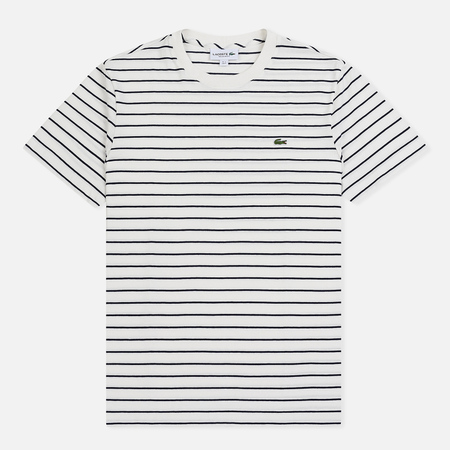 Мужская футболка Lacoste Crew Neck Striped Cotton Flour/Navy Blue