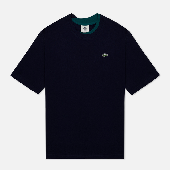 Мужская футболка Lacoste Double Collar Cotton Navy Blue/Green