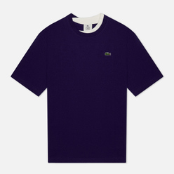 Мужская футболка Lacoste Double Collar Cotton Purple/White