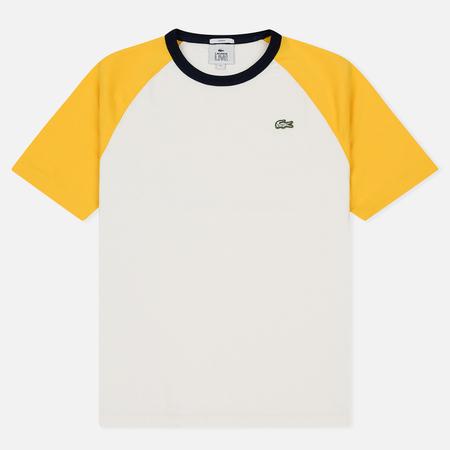 Мужская футболка Lacoste Live Crew Neck Colourblock White/Yellow/Navy Blue