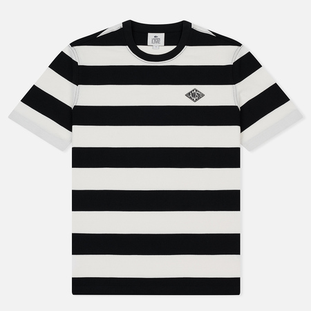 Мужская футболка Lacoste Live Crew Neck Diamond Badge Striped White/Black