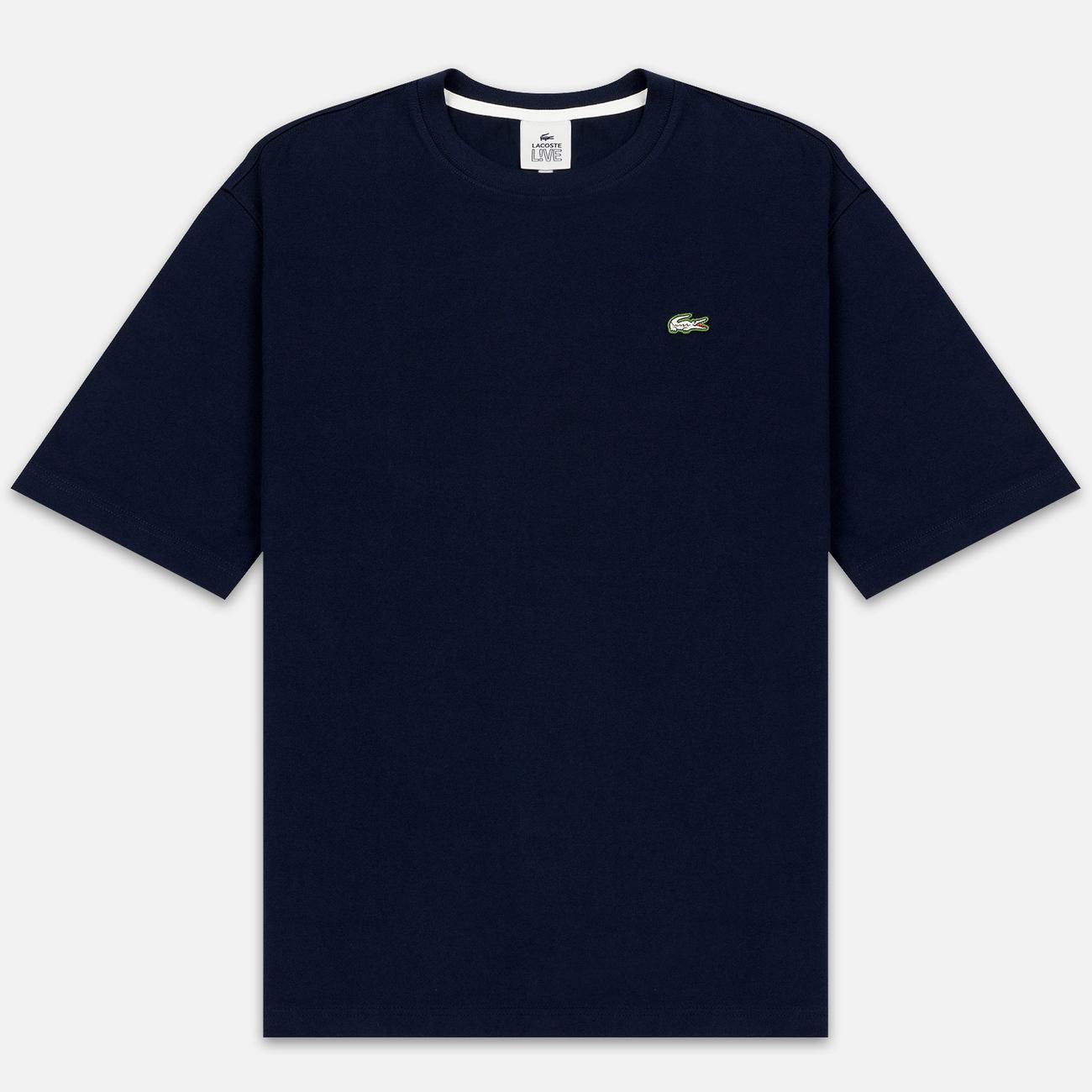 Мужская футболка Lacoste Live Crew Neck Loose Cotton Navy Blue