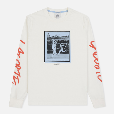 Мужская футболка Lacoste Live Signature Print White/Red/Light Blue/Black