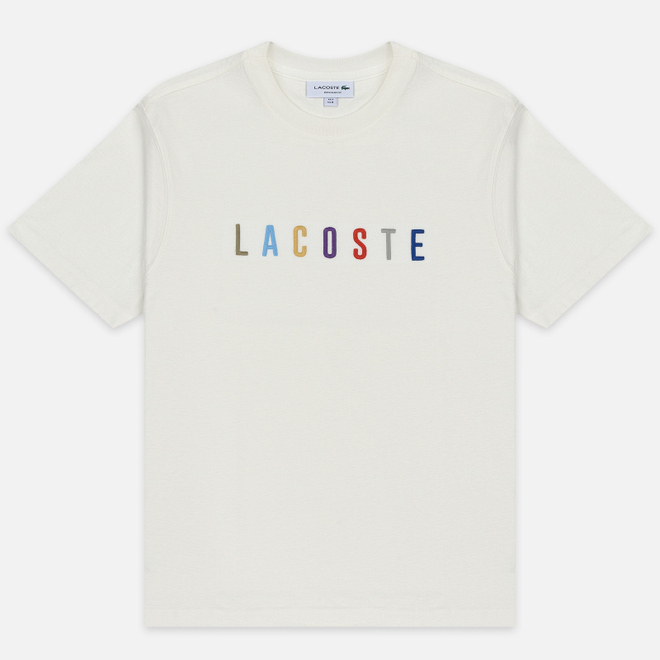 Мужская футболка Lacoste Multicoloured Embroidered Signature White