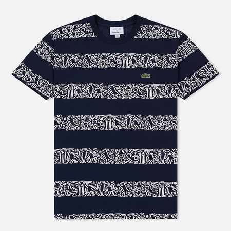 Мужская футболка Lacoste x Keith Haring Striped Print Crew Neck Navy Blue