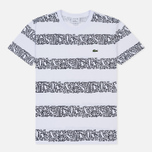 Мужская футболка Lacoste x Keith Haring Striped Print Crew Neck White/White фото- 0