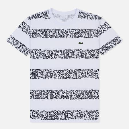 Мужская футболка Lacoste x Keith Haring Striped Print Crew Neck White/White
