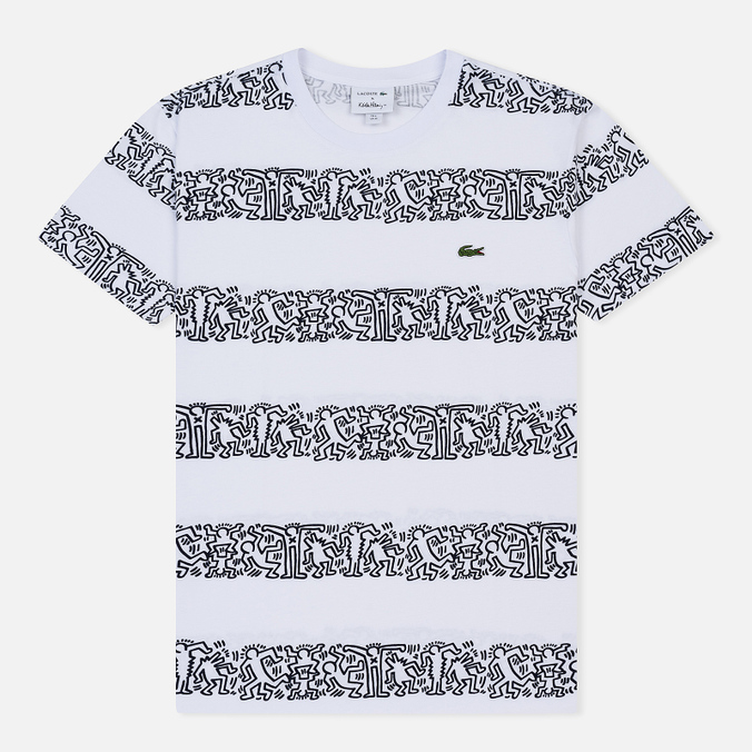 Мужская футболка Lacoste x Keith Haring Striped Print Crew Neck White/White