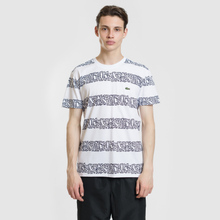 Мужская футболка Lacoste x Keith Haring Striped Print Crew Neck White/White фото- 1