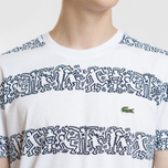 Мужская футболка Lacoste x Keith Haring Striped Print Crew Neck White/White фото- 2