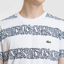 Мужская футболка Lacoste x Keith Haring Striped Print Crew Neck White/White фото- 2