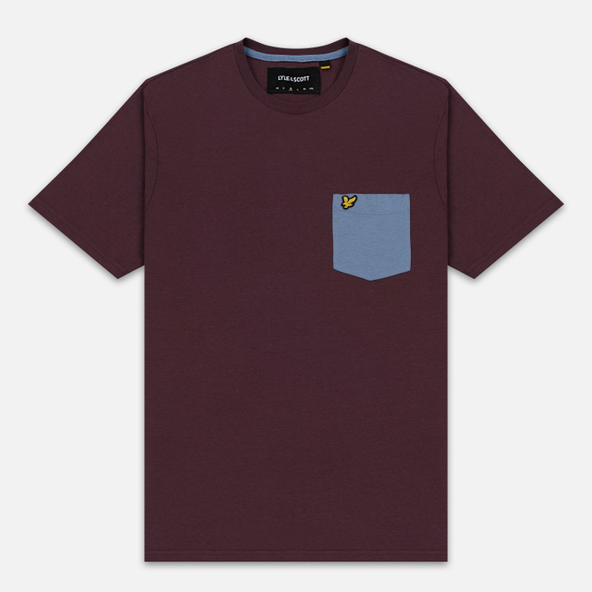 Мужская футболка Lyle & Scott Contrast Pocket Berry/Stone Blue