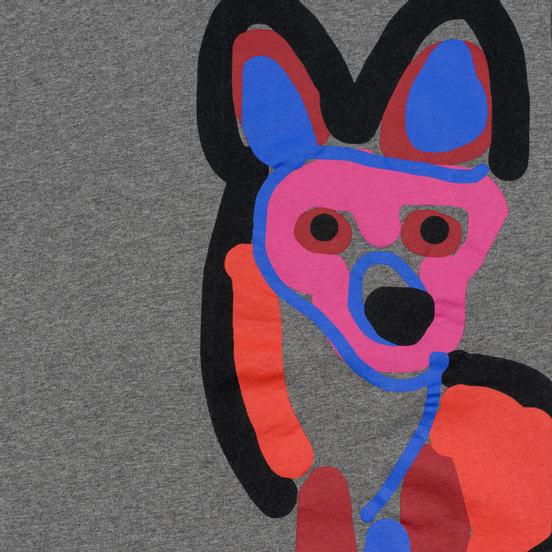 Мужская футболка Maison Kitsune Acide Fox Print Grey Melange