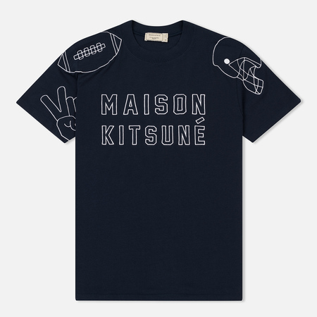 Мужская футболка Maison Kitsune Football Embroidery Navy