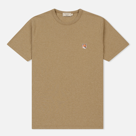 Мужская футболка Maison Kitsune Fox Head Patch Beige Melange