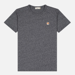 Мужская футболка Maison Kitsune Fox Head Patch Black Melange фото- 0