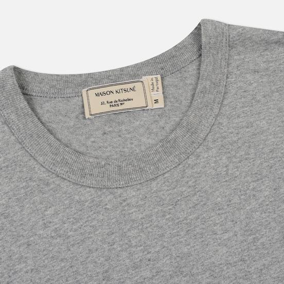 Мужская футболка Maison Kitsune Fox Head Patch Grey Melange