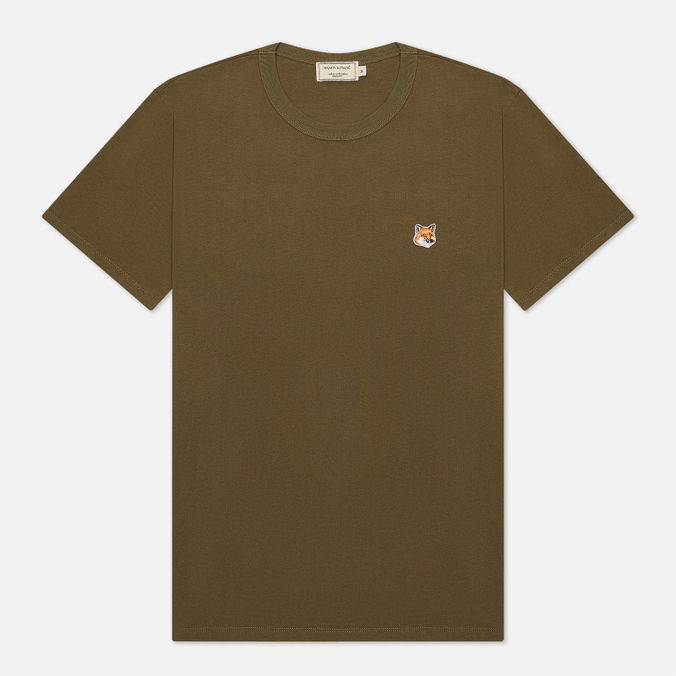 Мужская футболка Maison Kitsune Fox Head Patch Khaki