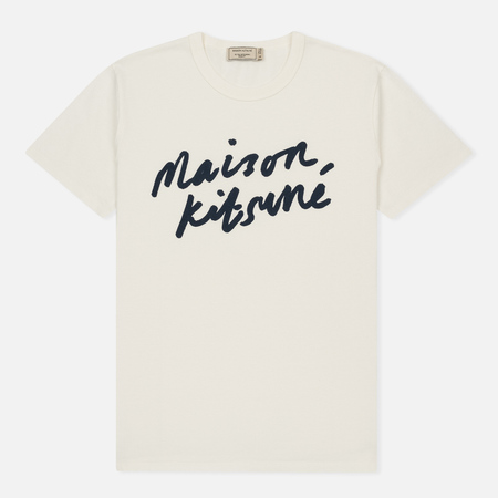 Мужская футболка Maison Kitsune Handwriting Latte