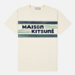 Мужская футболка Maison Kitsune Letter Stripes Navy Emerald фото- 0