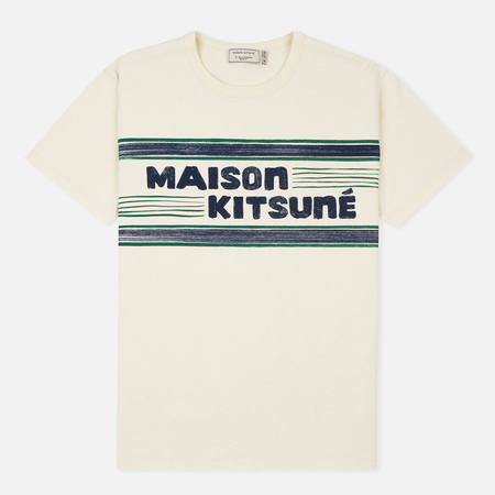 Maison Kitsune Letter Stripes Men's T-shirt Navy Emerald