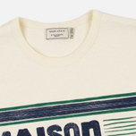 Мужская футболка Maison Kitsune Letter Stripes Navy Emerald фото- 2