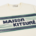 Мужская футболка Maison Kitsune Letter Stripes Navy Emerald фото- 1