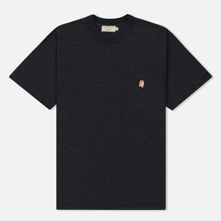 Мужская футболка Maison Kitsune Pen Pocket Anthracite Melange