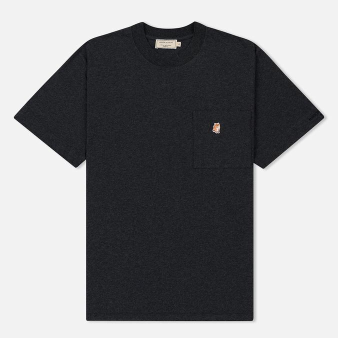 Мужская футболка Maison Kitsune Pen Pocket Anthracite Melange