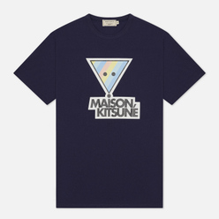 Мужская футболка Maison Kitsune Rainbow Triangle Fox Print Navy