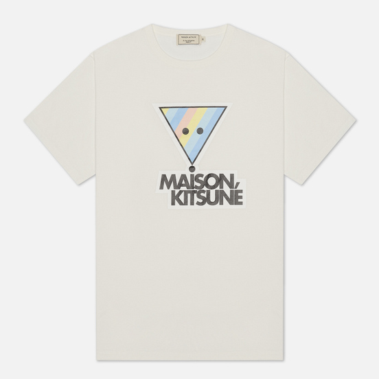 Мужская футболка Maison Kitsune Rainbow Triangle Fox Print White