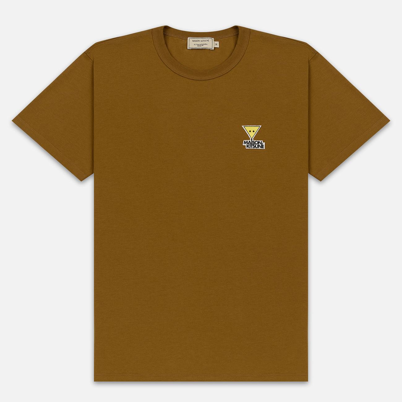Мужская футболка Maison Kitsune Triangle Fox Patch Camel