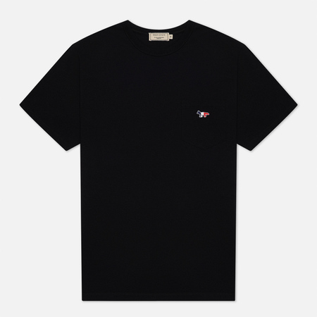Maison Kitsune Tricolor Fox Patch Men's T-Shirt Black
