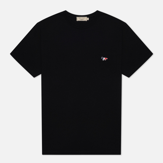 Мужская футболка Maison Kitsune Tricolor Fox Patch Black