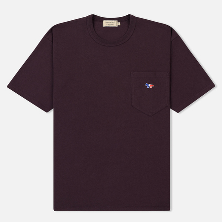 Мужская футболка Maison Kitsune Tricolor Fox Patch Burgundy