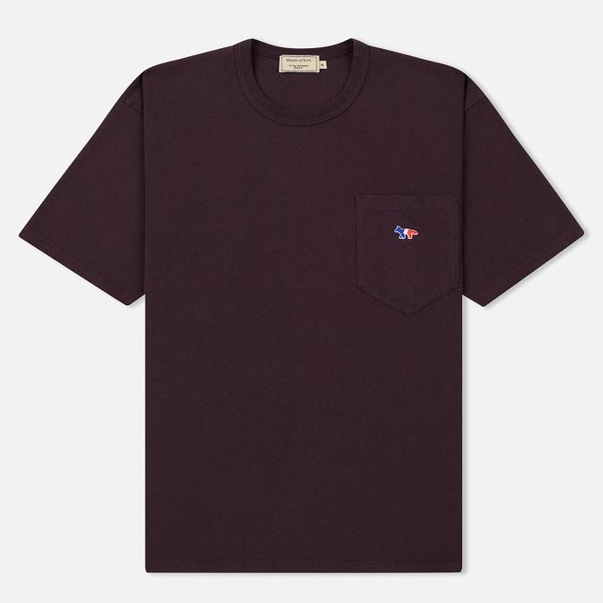 Мужская футболка Maison Kitsune Tricolor Fox Patch Burgundy