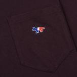 Мужская футболка Maison Kitsune Tricolor Fox Patch Burgundy фото- 2