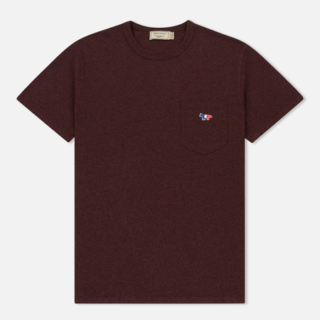 Мужская футболка Maison Kitsune Tricolor Fox Patch Burgundy Melange