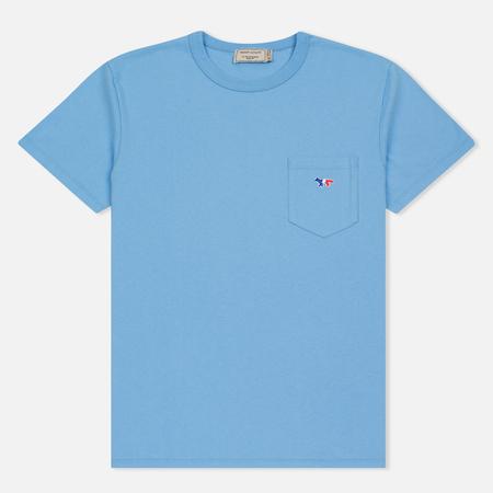Мужская футболка Maison Kitsune Tricolor Fox Patch Light Blue