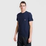 Мужская футболка Maison Kitsune Tricolor Fox Patch Navy фото- 3