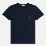 Мужская футболка Maison Kitsune Tricolor Fox Patch Navy фото- 0