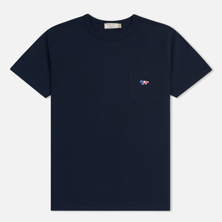 Мужская футболка Maison Kitsune Tricolor Fox Patch Navy