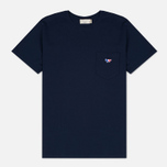 Maison Kitsune Tricolor Fox Patch Men's T-Shirt Navy photo- 0