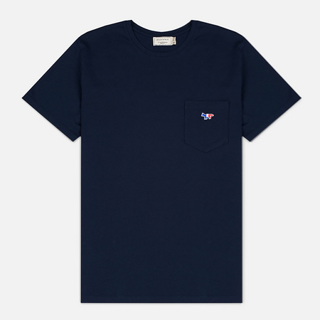 Maison Kitsune Tricolor Fox Patch Men's T-Shirt Navy