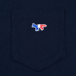 Мужская футболка Maison Kitsune Tricolor Fox Patch Navy фото- 3