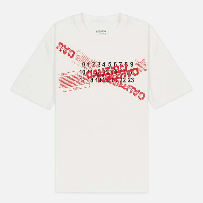Мужская футболка Maison Margiela Caution Logo Print Oversized Off White